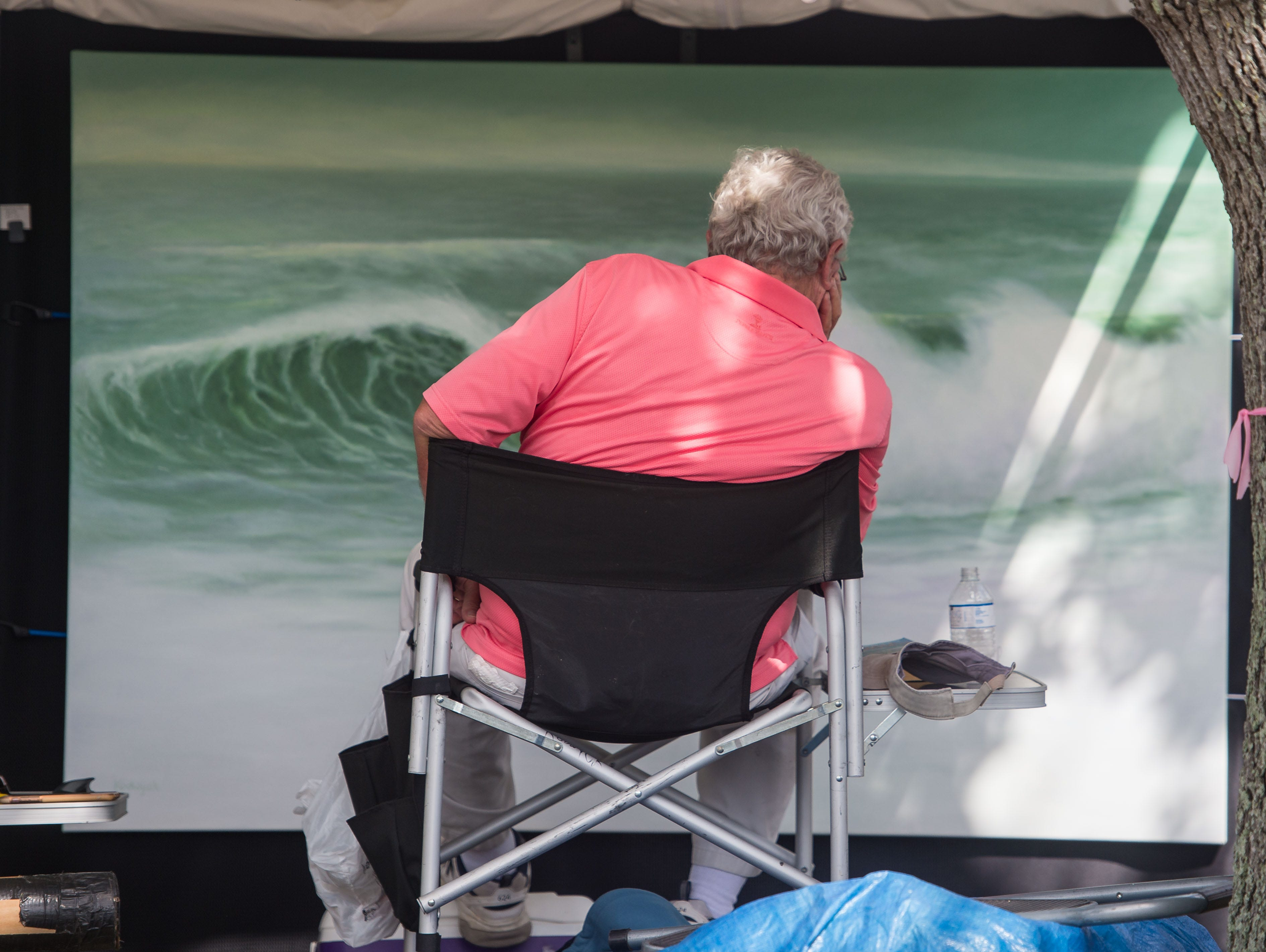 Richard Jones, husband of fine artist Lynda Kodwyck, of Palm Bay, looks at one of his wife's paintings as he sits behind her tent along Dixie Highway at the 18th annual Hobe Sound Festival of the Arts on Saturday, Feb. 2, 2019, in Hobe Sound.