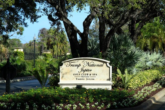 The entrance to Trump National Golf Club in Jupiter is shown Saturday, Feb. 2, 2019, where President Donald Trump is playing a round of golf with golfers Jack Nicklaus and Tiger Woods. Trump and his family are spending the weekend at his his Mar-a-Lago estate in Palm Beach.
