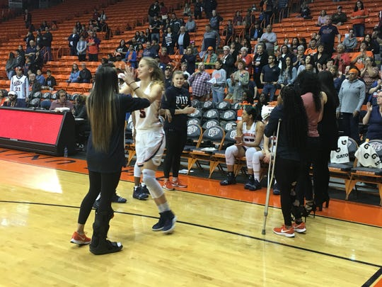 Zuzanna Puc takes the floor prior to UTEP's game with Western Kentucky on Saturday at the Don Haskins Center.