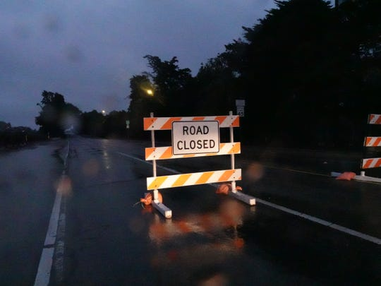 In Ventura, west Main Street was closed early Saturday morning near an RV park evacuated in advance of heavy rain.