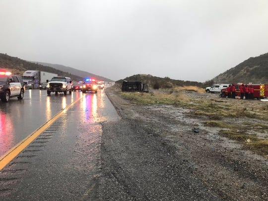 The scene of an accident on Interstate 5 Saturday morning where a member of the Ventura County Sheriff's search and rescue team was killed while helping with an earlier crash.