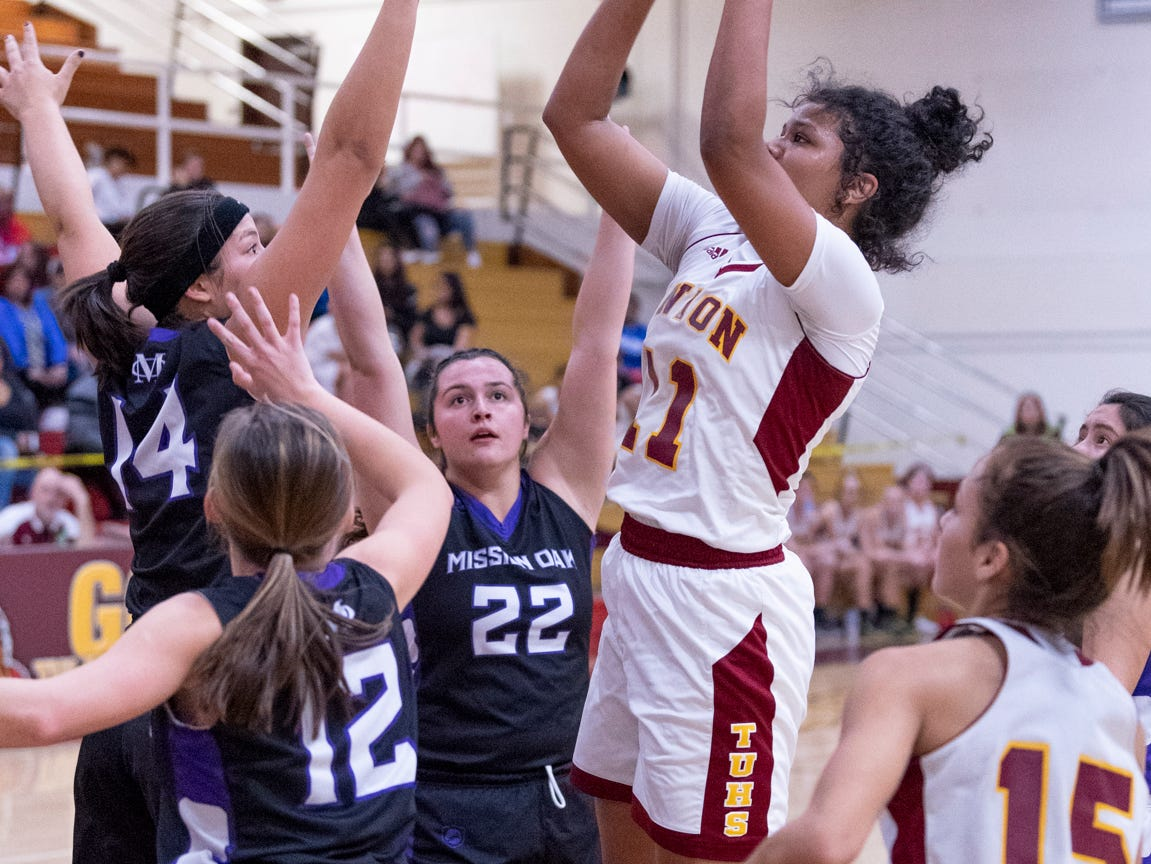 Tulare Union's Kiara Brown shoots against Mission Oak in a girls basketball game on Friday, February 1, 2019.