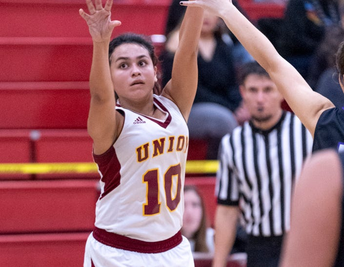 Tulare Union's Vivaca Gonzales shoots against Mission Oak in a girls basketball game on Friday, February 1, 2019.