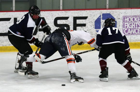 Rye Town/Harrison defeated Horace Greeley 7-1 in hockey action at the Brewster Ice Arena Feb. 1,  2019.