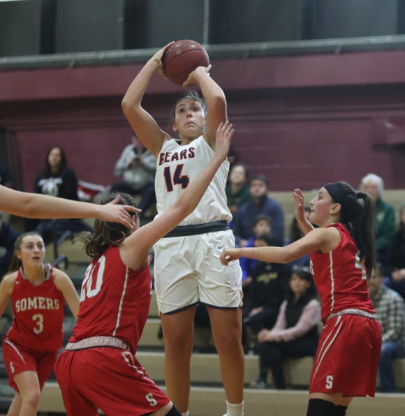 Briarcliff's Maddie Plank (14) puts up a jump shot during the Pauline Ricci Memorial Classic basketball tournament at Ossining High School on Saturday, February 2, 2019.