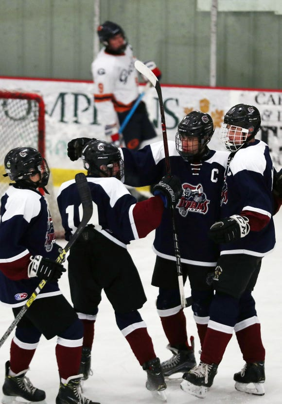 Rye Town/Harrison players celebrate a first period goal by Jack Shapiro (14) during hockey action at the Brewster Ice Arena Feb. 1,  2019.