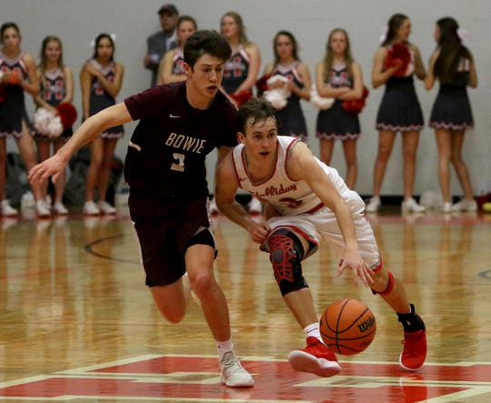 Holliday's Chase Borchardt dribbles by Bowie's Evan Kennedy Friday, Feb. 1, 2019, in Holliday. The Eagles defeated the Jackrabbits 45-42.