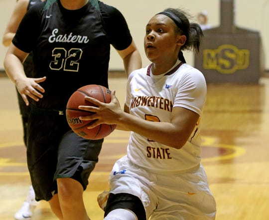 Midwestern State's Chelcie Kizart drives to the basket against Eastern New Mexico Saturday, Feb. 2, 2019, in D.L. Ligon Coliseum at MSUTexas.