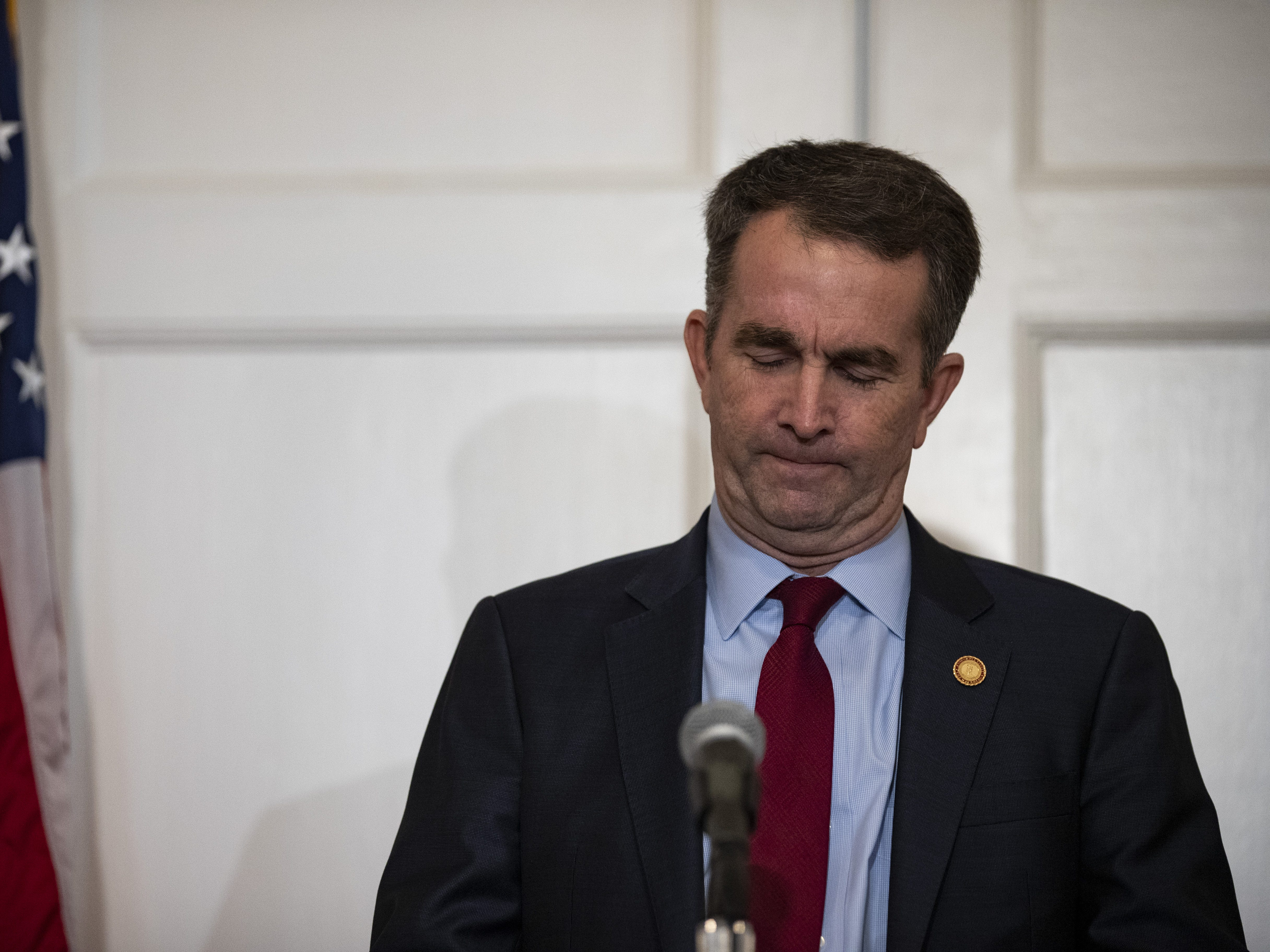 Virginia Governor Ralph Northam speaks with reporters at a press conference at the Governor's mansion on Feb. 2, 2019 in Richmond, Virginia. Northam denies allegations that he is pictured in a yearbook photo wearing racist attire.