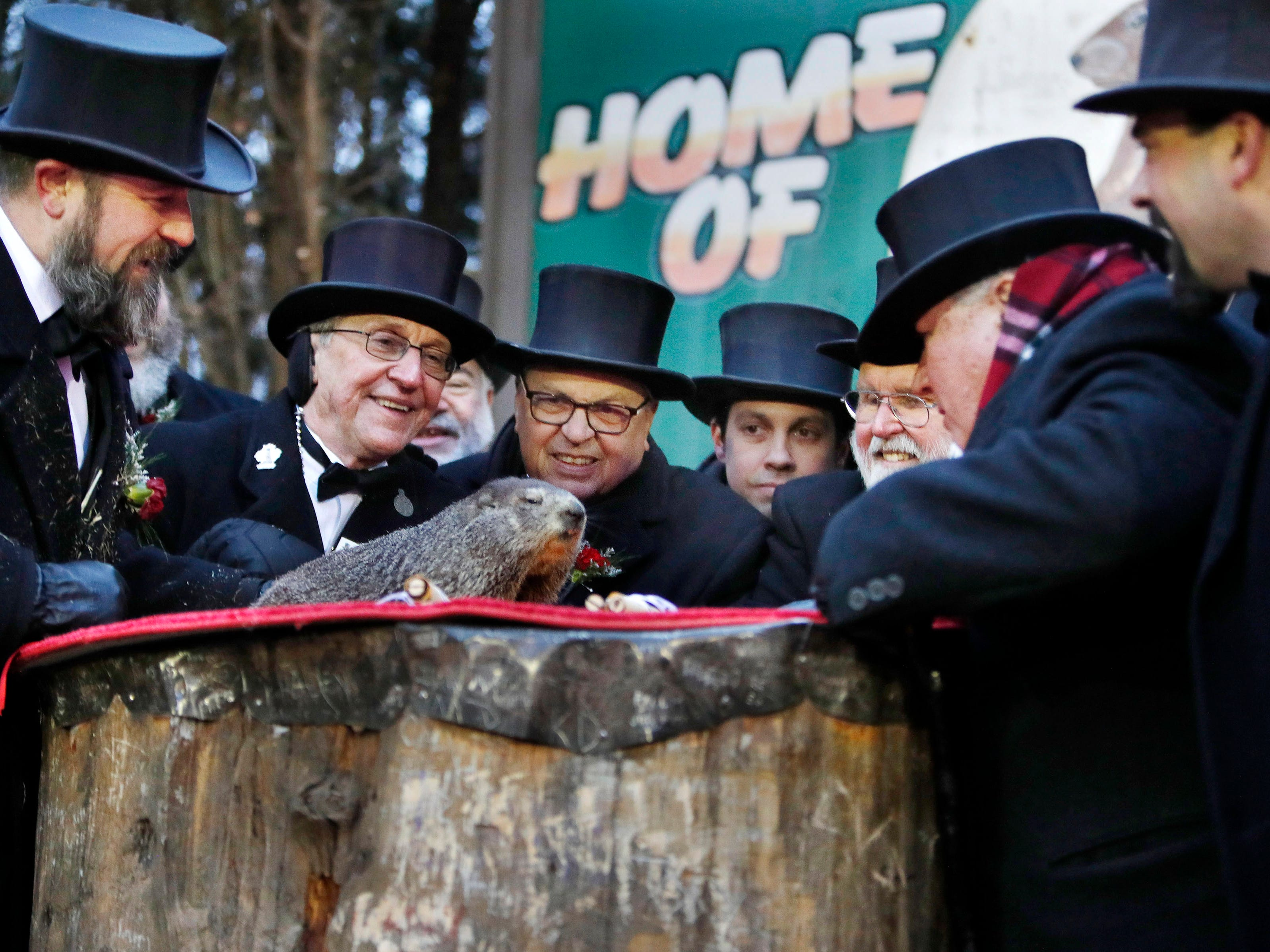 Members of the Groundhog Club Inner Circle look on as Punxsutawney Phil makes his prediction during the Groundhog Day celebration at Gobblers Knob in Punxsutawney, Pa. on Feb. 2 2019.