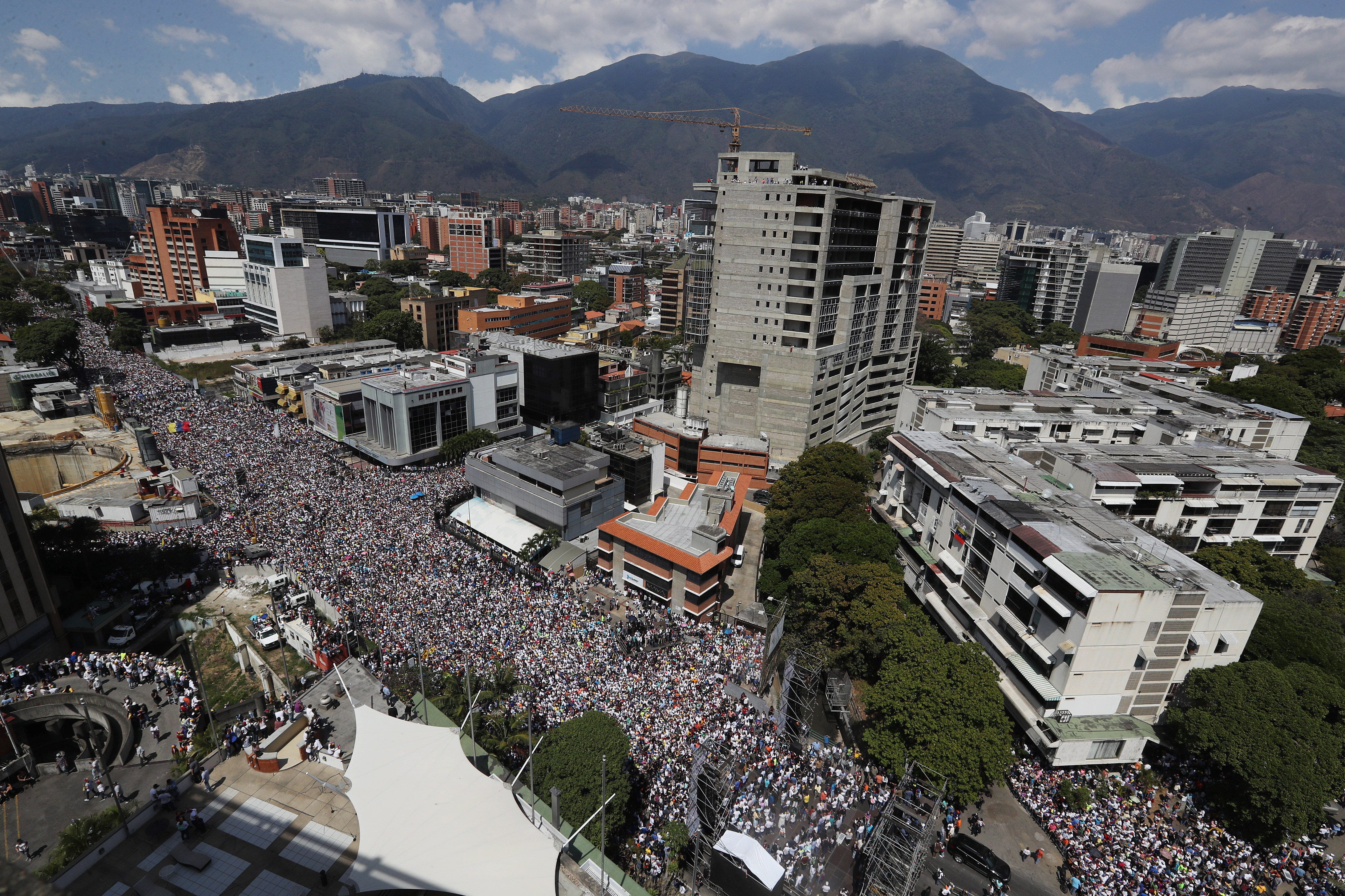 Thousands of sympathizers of the Venezuelan opposition participate in a march against Nicolas Maduro's Government, in Caracas, Venezuela on Feb. 2, 2019. Maduro and his opponent National Assembly leader Juan Guaido have called on their supporters to take to the streets as international pressure increased on Maduro to resign.