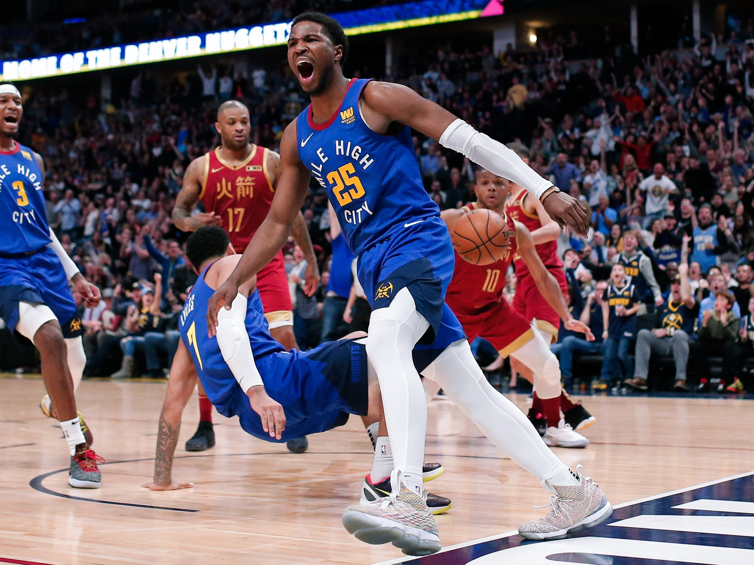 Feb. 1: Nuggets guard Malik Beasley (25) gets fired up after a big first-half dunk against the Rockets in Denver.