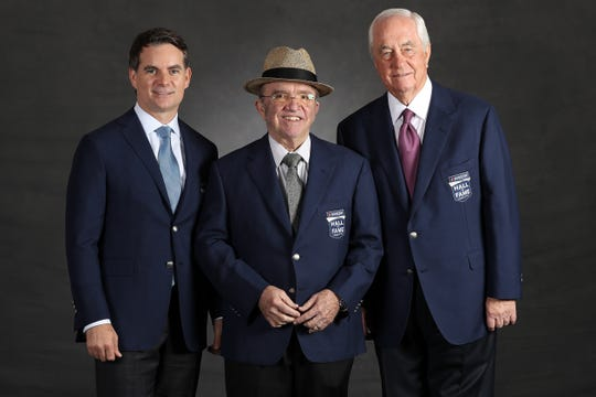(From left to right) Jeff Gordon, Jack Roush and Roger Penske pose for a photo before the 2019 NASCAR Hall of Fame induction ceremony.