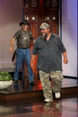 """Neal James arrive (R) appear on """"The Tonight Show with Jay Leno"""" on June 13, 2012."""