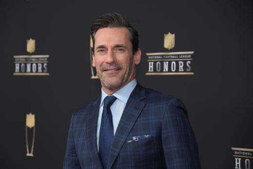 Jon Hamm during red carpet arrivals for the NFL Honors show at the Fox Theatre.