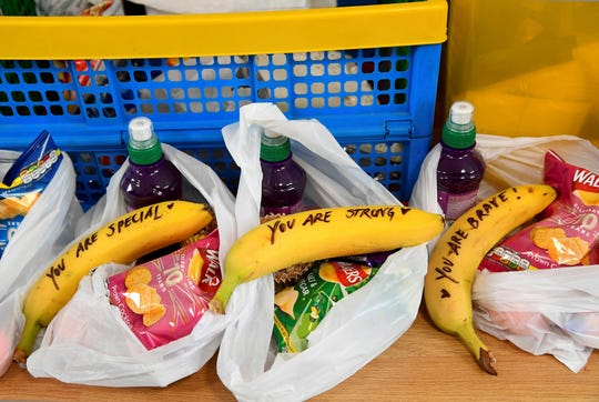 Messages written on bananas by Duchess Meghan on Feb. 1, 2019 as she helped to prepare food parcels to be dispatched by the charity outreach van, during her visit to One25, a charity specializing in helping women to break free from street sex work, addiction and other life-controlling issues.