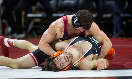 Rutgers' Anthony Ashnault has Princeton's Matthew Kolodzik on his back late in the 149-pound bout. Ashnault, ranked No. 2 in the nation at 149, recorded an ultra-impressive and dominant 10-2 major decision win over No. 1 ranked Kolodzik.