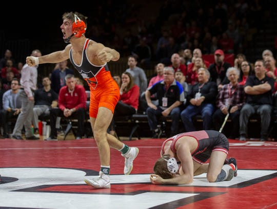 Princeton's Pat Glory vs Rutgers' Shane Metzler a 125-pound bout. Princeton University Wrestling vs Rutgers in Piscataway NJ on February 3, 2019.