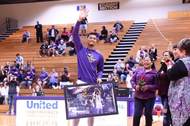 HSU senior Joe Hoeup waves to the crowd during Saturday's Senior Day ceremony. Hoeup's teammates surprised him by flying his mother and other families to Texas from California.