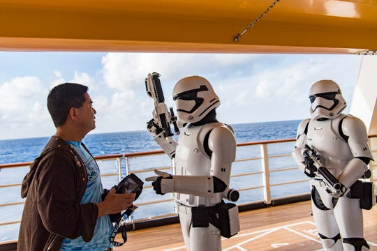 Surprise encounters with Stormtroopers and other Star Wars characters are part of the Disney Cruise Line adventure Star Wars Day at Sea. The day-long event celebrates the legendary adventures and iconic characters from the Star Wars saga.