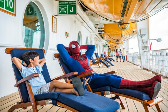 Marvel Super Heroes like Spider-Man are onboard for heroic encounters during Marvel Day at Sea. The event features all-day entertainment celebrating the renowned comics, films and animated series of the Marvel Universe.