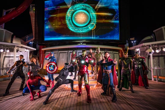 "The ""Marvel Heroes Unite"" deck show during Marvel Day at Sea combines special effects, stunts, pyrotechnics and music to create a sensational stunt show spectacular on the upper decks. The event features all-day entertainment celebrating the renowned comics, films and animated series of the Marvel Universe."