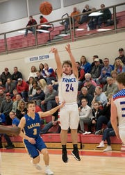 Senior Chad Ison takes a jump shot to score for Zane Trace Saturday night against Gahanna Lincoln at Zane Trace High School on Feb. 2, 2019.