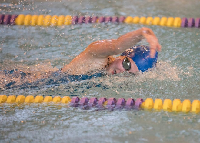 Senior Heidi Arth helped the Chillicothe girls take first place in the 200-yard freestyle relay at the 2019 FAC swimming championships on Saturday, Feb. 2, 2019, in Greenfield, Ohio.