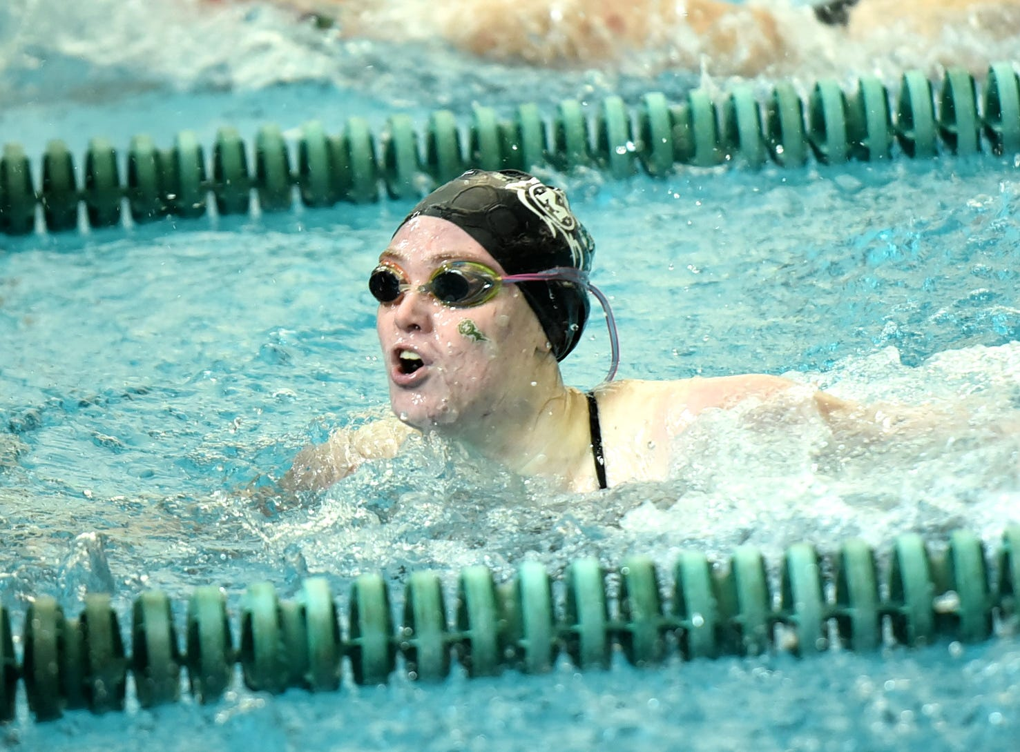 McKenzie Grau of Mason took first place in the girls 100-yard freestyle at the 2019 Greater Miami Conference swimming championships, Feb. 2, 2019.