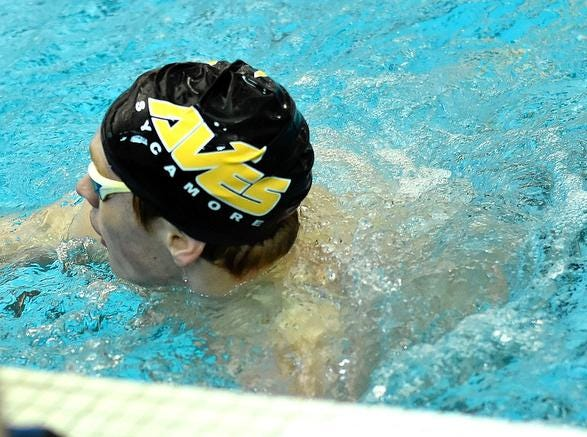 Jake Foster tags the wall for a first place finish in the Boys 200 Yard Freestyle at the 2019 GMC Swimming Championships, February 2, 2019.