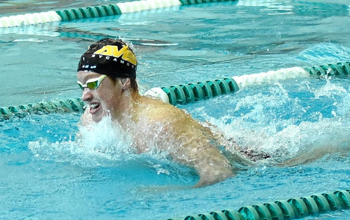 Sycamore's Jake Foster powers out the second leg of the boys 200-yard individual medley at the 2019 Greater Miami Conference swimming championships, Feb. 2, 2019.