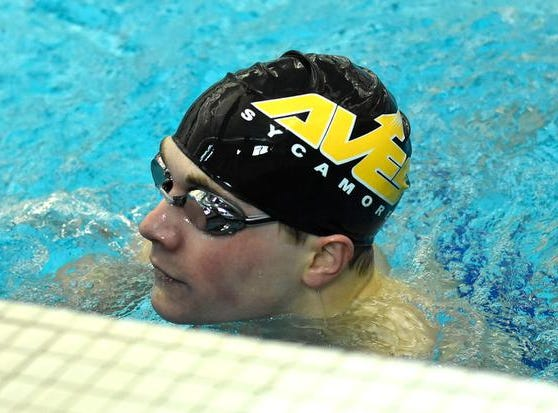 A first place finish in the second heat of the Boys 200 Yard IM belonged to Keegan Veraldo of Sycamore at the 2019 GMC Swimming Championships, February 2, 2019.