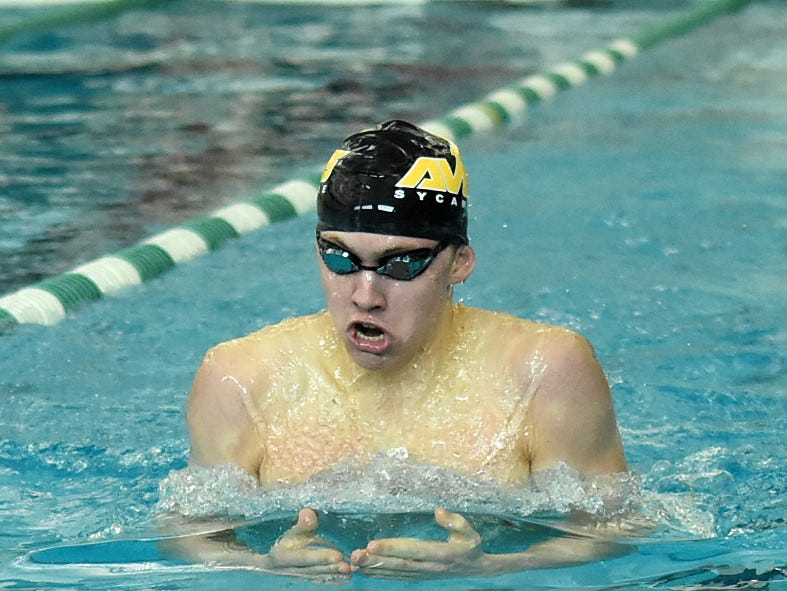 Sycamore's Carson Foster pumped out a first-place finish in the boys 200-yard individual medley at the 2019 Greater Miami Conference swimming championships, Feb. 2, 2019.