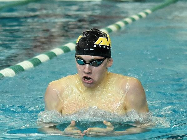 Sycamore's Carson Foster pumped out a first place finish in the Boys 200 Yard IM at the 2019 GMC Swimming Championships, February 2, 2019.