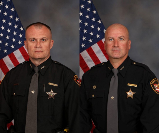 Detective Bill Brewer, left, died as a result of gunshot wounds following the Clermont County standoff early Sunday morning. Lt. Nick DeRose, right, was treated and released at a hospital.