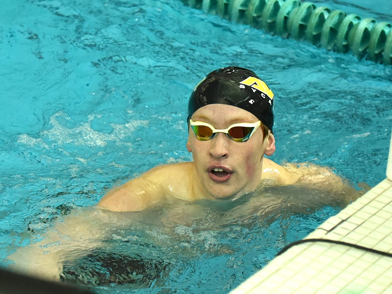 Jake Foster of Sycamore sees a new Greater Miami Conference boys 500-yard freestyle record finish time of 4:29.11 at the 2019 Greater Miami Conference swimming championships, Feb. 2, 2019.