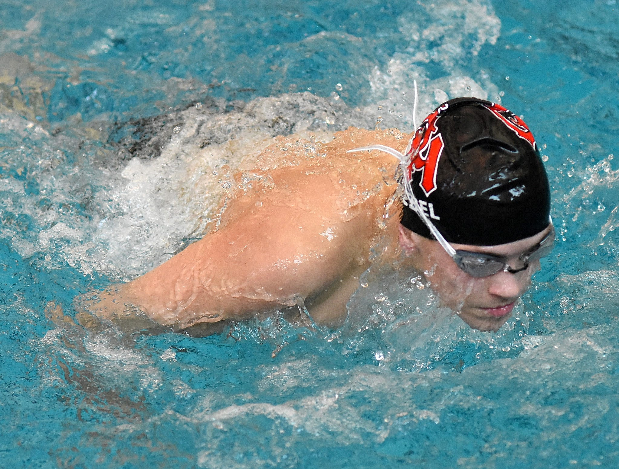 Aaron Kuebel of Oak Hills swims the 100-yard breaststroke at the 2019 Greater Miami Conference swimming championships, Feb. 2, 2019.