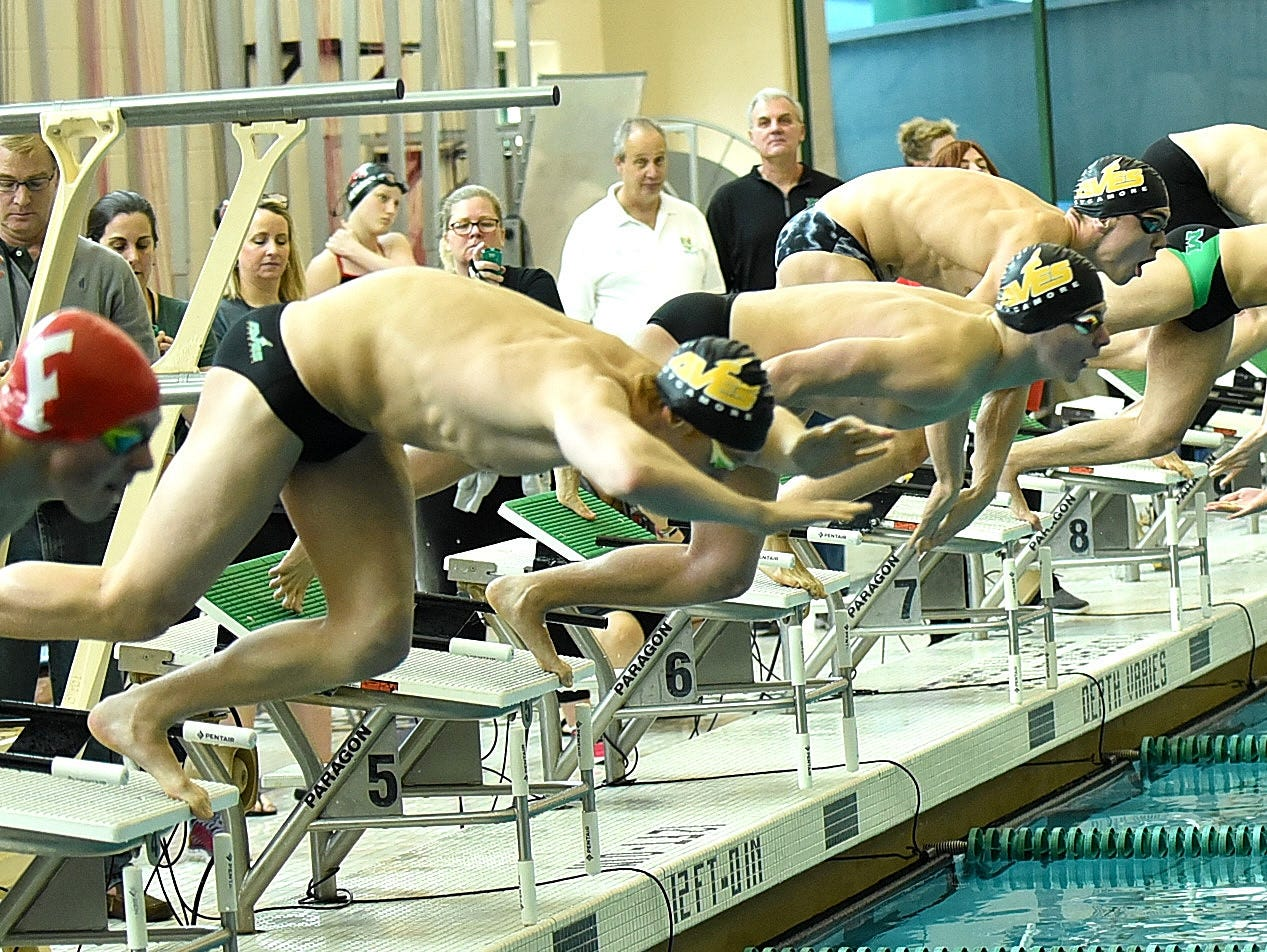 Lanes four through eight feature Sycamore and Mason's best in the finale of the boys 200-yard freestyle at the 2019 Greater Miami Conference swimming championships, Feb. 2, 2019.