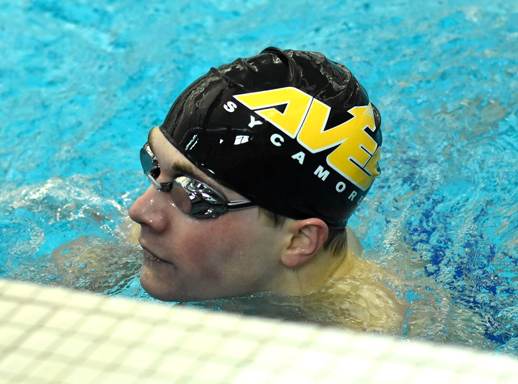 A first-place finish in the second heat of the boys 200-yard individual medley belonged to Keegan Veraldo of Sycamore at the 2019 Greater Miami Conference swimming championships, Feb. 2, 2019.