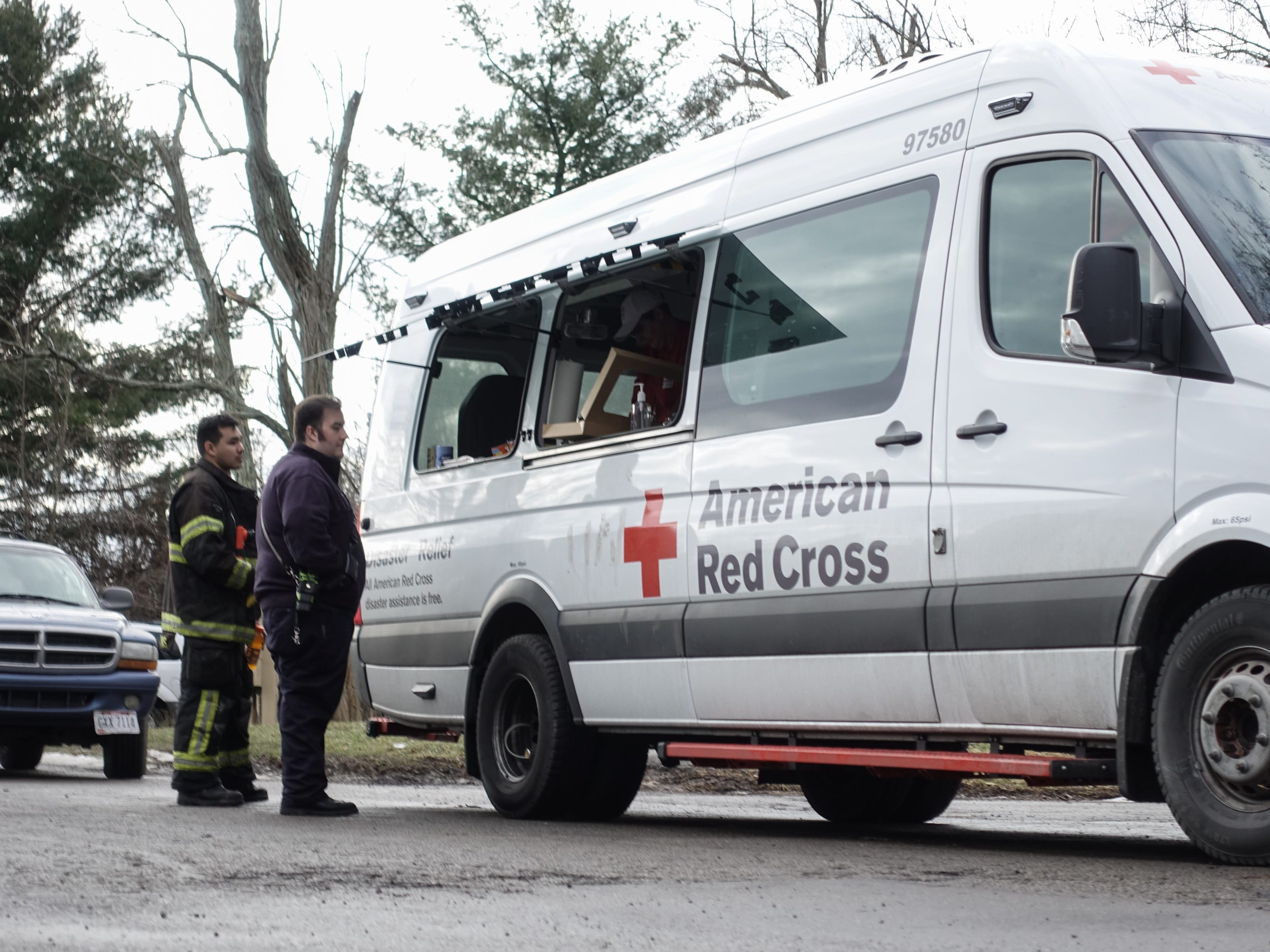 American Red Cross stationed on on the scene at the Royal Oaks Apartments in Pierce Township, Ohio after a standoff ended, resulting in the death of one Clermont County Sheriff's deputy, Bill Brewer, and the injury of another, Lt. Nick DeRose.