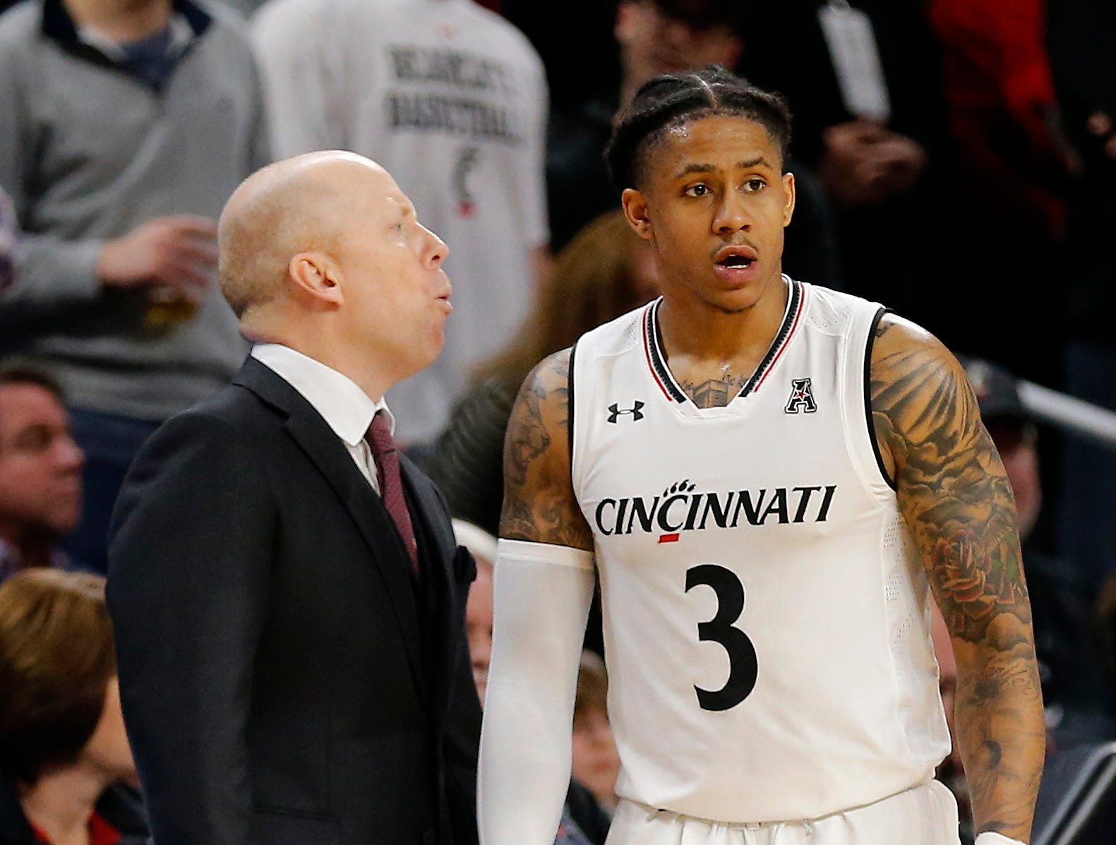 Cincinnati Bearcats head coach Mick Cronin shouts at guard Justin Jenifer (3) in the second half the the NCAA American Athletic Conference basketball game between the Cincinnati Bearcats and the Southern Methodist Mustangs at Fifth Third Arena in Cincinnati on Sunday, Feb. 3, 2019. The Bearcats edged out SMU for a 73-68 win.
