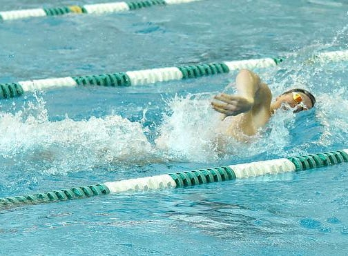 Jake Foster of Sycamore eyes a first place  finish in the Boys 200 Yard Freestyle at the 2019 GMC Swimming Championships, February 2, 2019.
