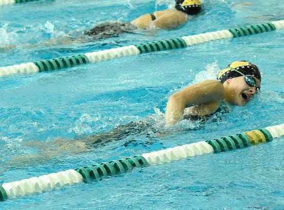 Sycamore's Marissa Thorpe swims hard for the Lady Aves in the Girls 500 Yard Freestyle at the 2019 GMC Swimming Championships, February 2, 2019.