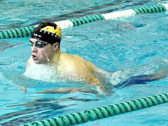 Keegan Veraldo of Sycamore pumps out the breaststroke in the Boys 200 Yard IM at the 2019 GMC Swimming Championships, February 2, 2019.