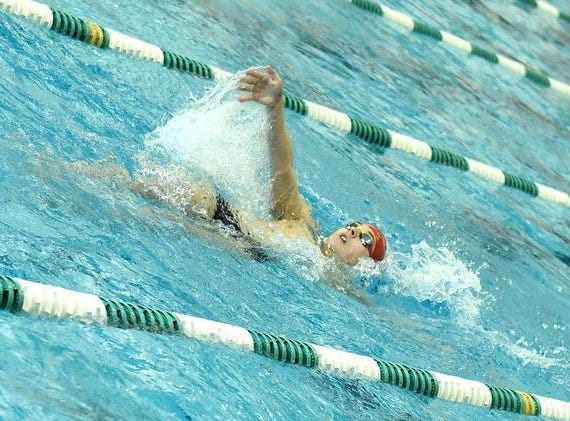 Davis Cole of Lakota West siwms out the backstroke in the seond heat pf the Boys 200 Yard IM at the 2019 GMC Swimming Championships, February 2, 2019.