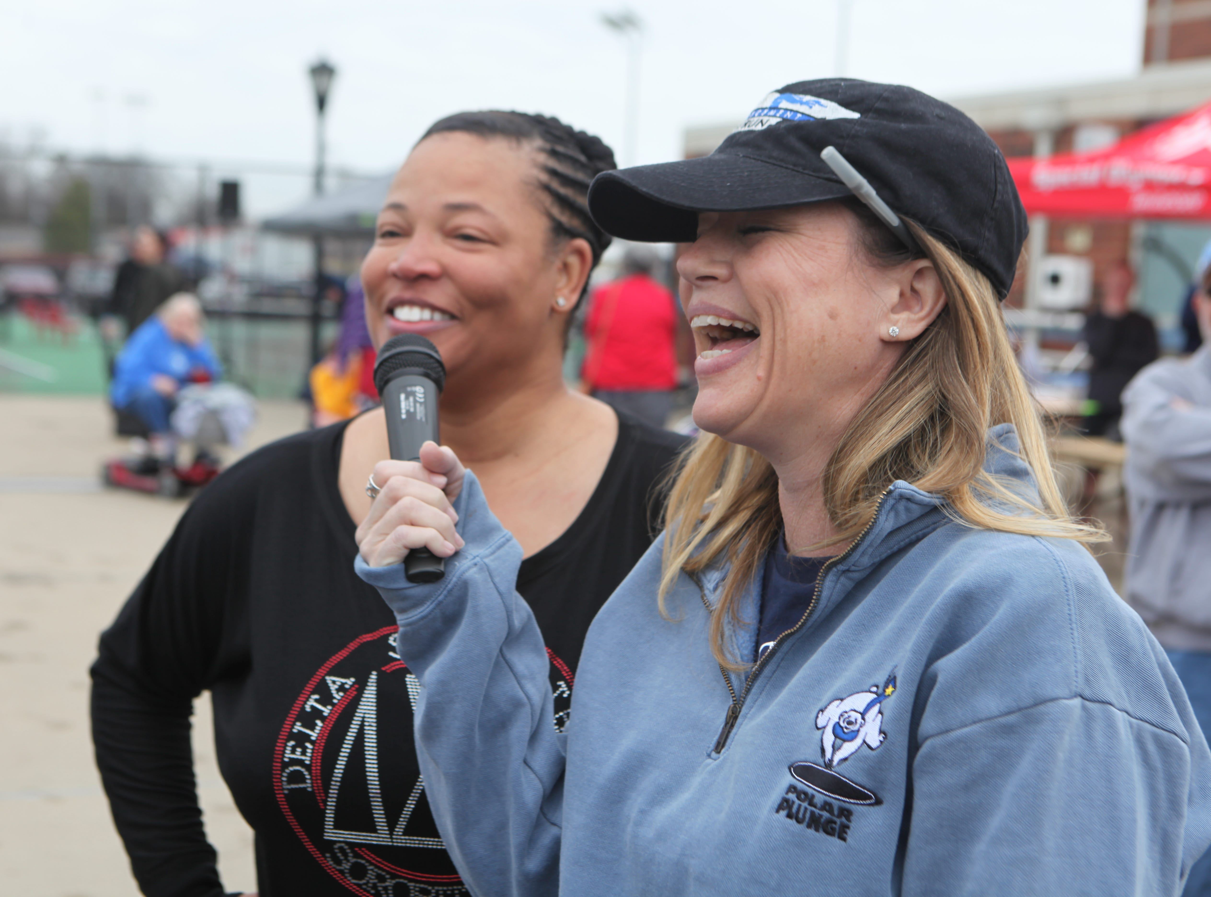 CPD Captain Liane Wilson (L) speaks with Amy Parker, VP of Marketing, Tennessee Special Oluympics (R) during the Special Olympics Polar Plunge at APSU on Saturday, Feb. 1, 2019. More than $10,000 was raised at this year's event.