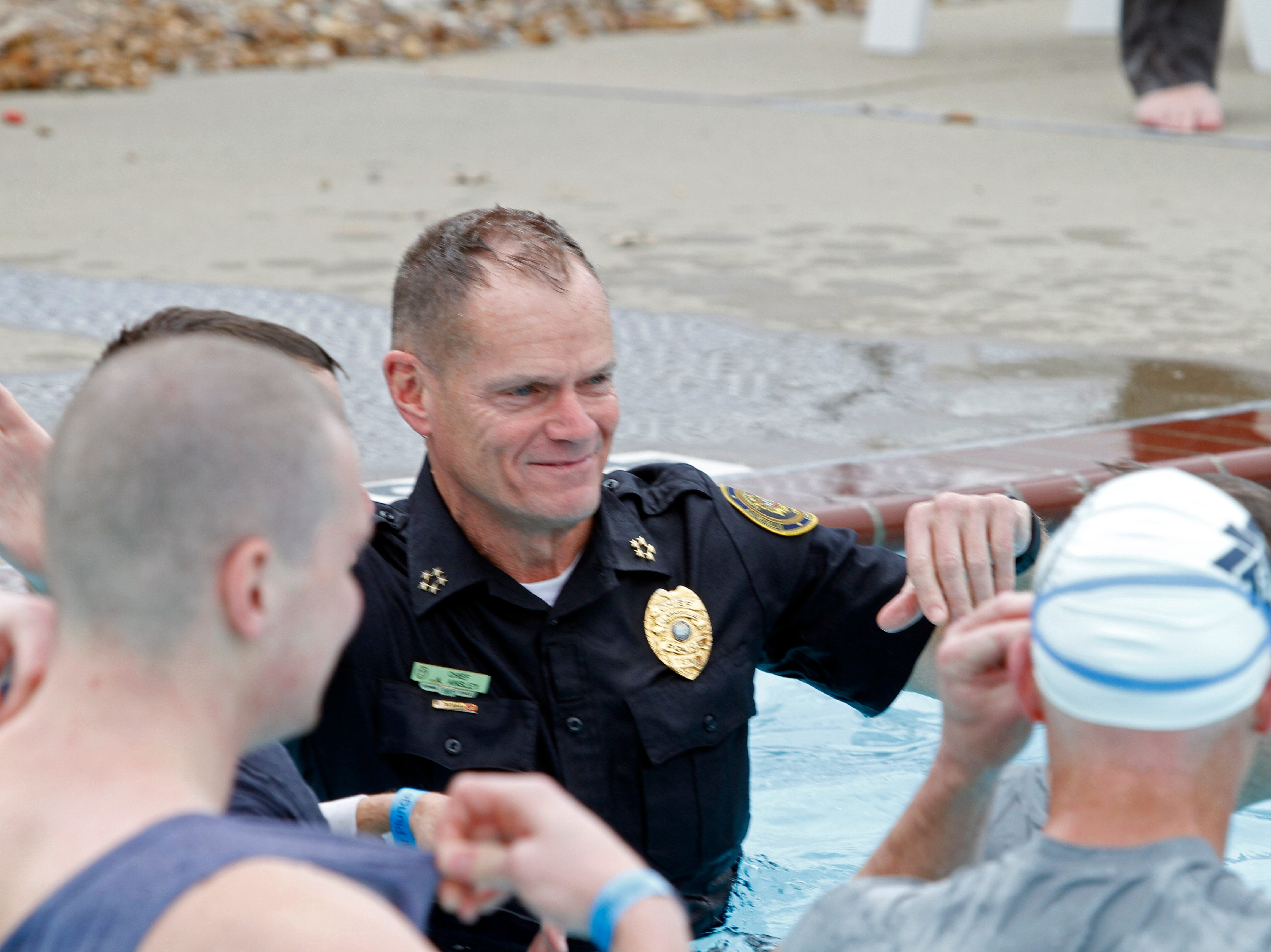 CPD Chief Al Ainsley plunged in full uniform during the Special Olympics Polar Plunge at APSU on Saturday, Feb. 1, 2019. More than $10,000 was raised at this year's event.