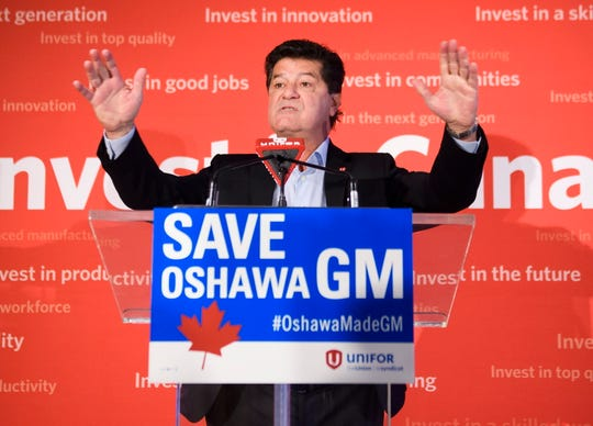 Unifor National President Jerry Dias speaks during a news conference asking for all Canadians and Americans to boycott all General Motors vehicles that are made in Mexico due to the recent news about the Oshawa General Motors plant closure in Toronto on Friday, Jan. 25, 2019.