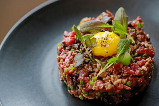 Steak tartare from Marrow, a butcher shop-restaurant hybrid in Detroit's West Village neighborhood.