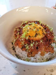 Roe & rice from Pursue, a stall run by sushi chef Mike Han that focuses on sustainable American seafood, inside Detroit's Fort Street Galley food hall.